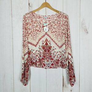 Patrons of Peace   Boho Red Floral Blouse - Large